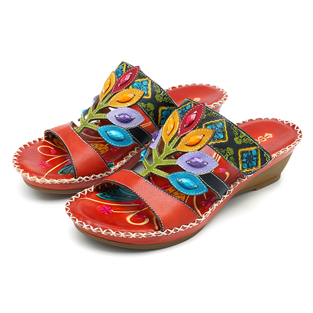 SOCOFY Bohemian Handmade Genuine Leather Sandals