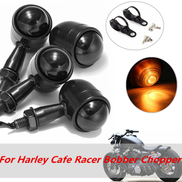 4x Mini Turn Signal Blinker Lights Bulbs & Bracket For Harley Cafe Racer Bobber Chopper