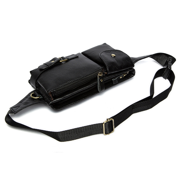 Men Genuine Leather Outdoor Waist Pack Fanny Pack Belt Bag Phone Pouch Vintage Waist Bag