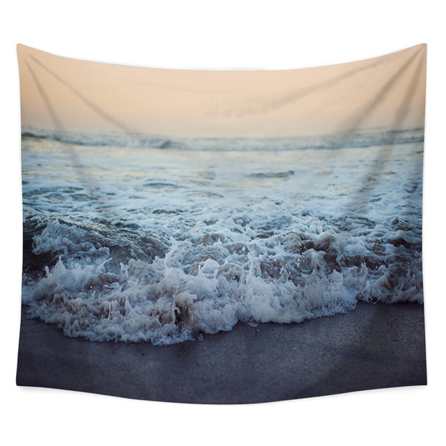 Sea Wave Sailing Pattern Wall Hanging Tapestry Tablecloth Sunset Printed Home Decor Yoga Mat Picnic Mat Beach Towel Travel Pad