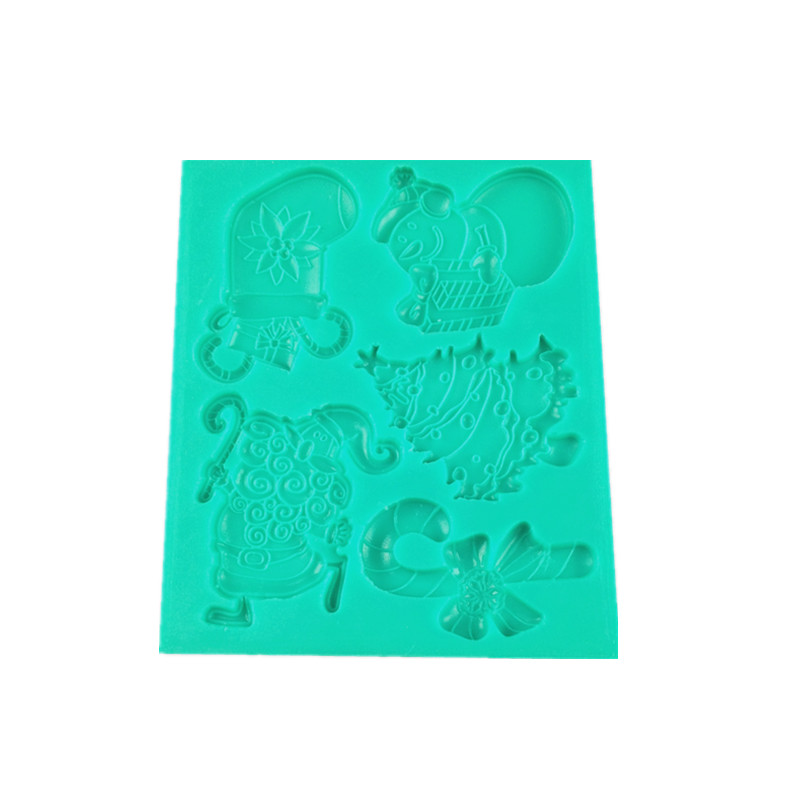 Christmas Reindeer Santa Claus Tree Crutch Sleigh Shaped Silicone Fondant Mold Chocolate Cake Mould