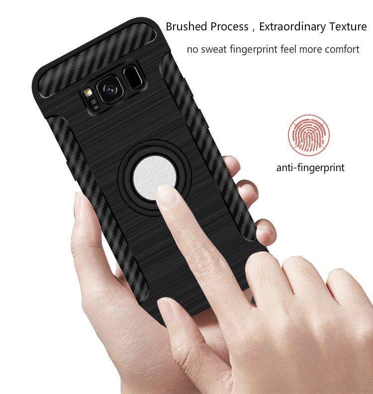 Rotating Ring Grip Holder Carbon Fiber Case For Samsung Galaxy S8 Plus
