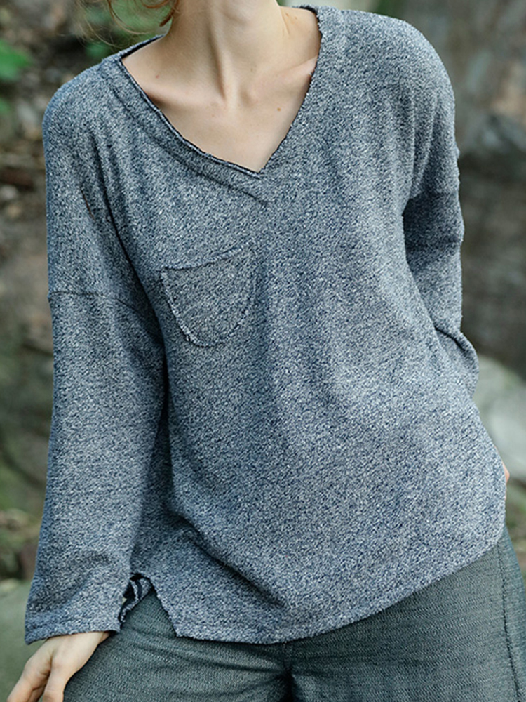 Casual Women Loose V-Neck Knit Long Sleeve T-Shirts