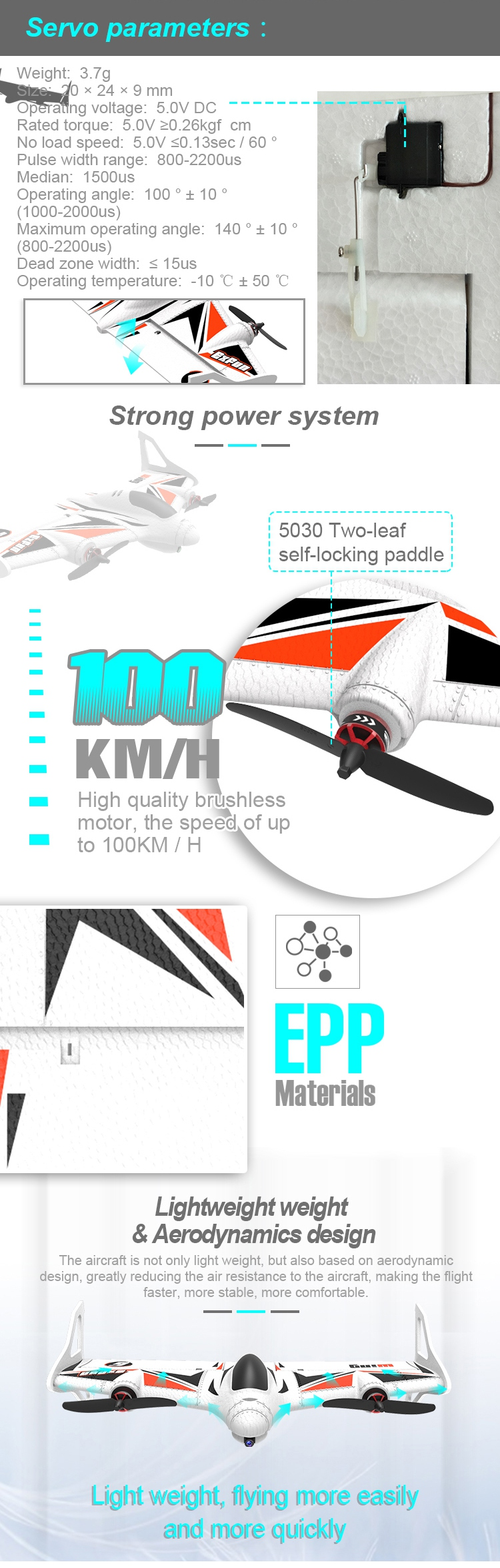 Airjugar mirage F5001 500mm Wingspan 360 Degree Vertical Flight Fixed Wing RC Airplane Kit for DIY