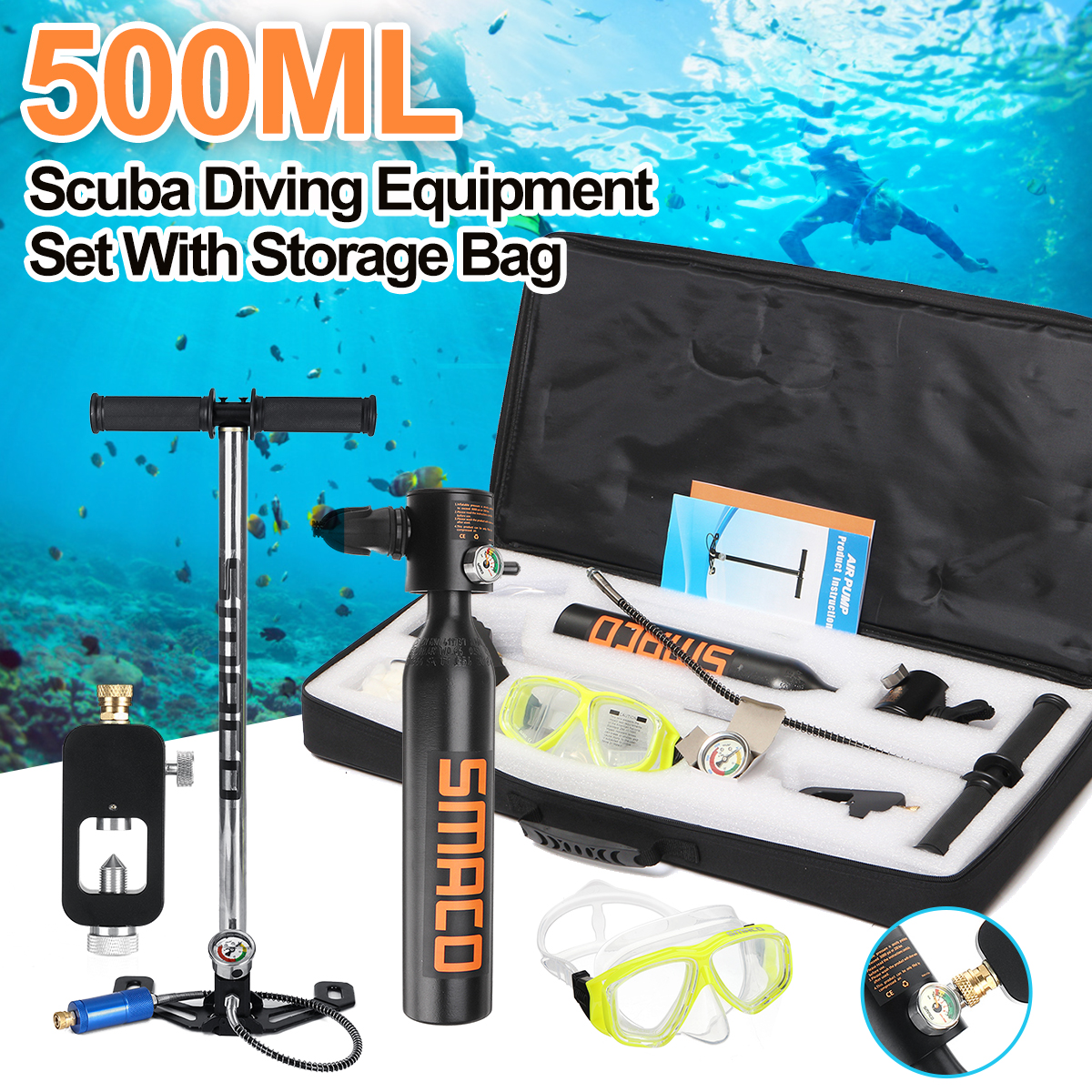 500ml Diving Equipment Mini Scuba Diving Cylinder Scuba Oxygen Tank for Snorkeling Underwater Breathing