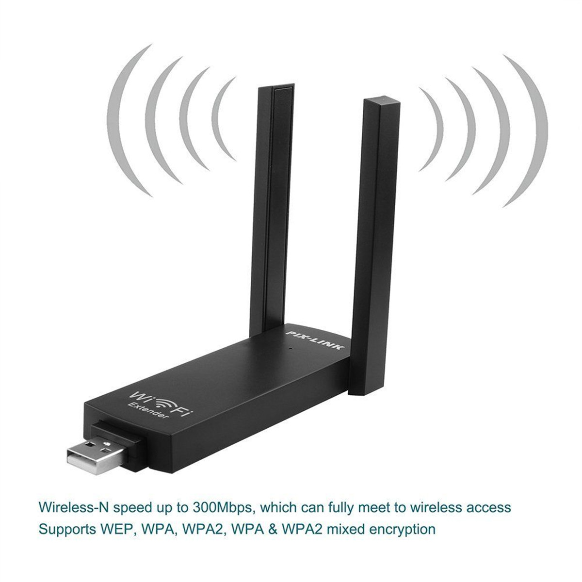 PIX-LINK 300Mbps USB Wireless WiFi Amplifier Repeater Extender