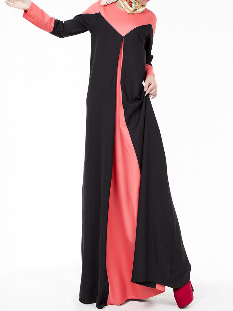 Casual Women Long Sleeve Contrast Color Patchwork Maxi Dresses