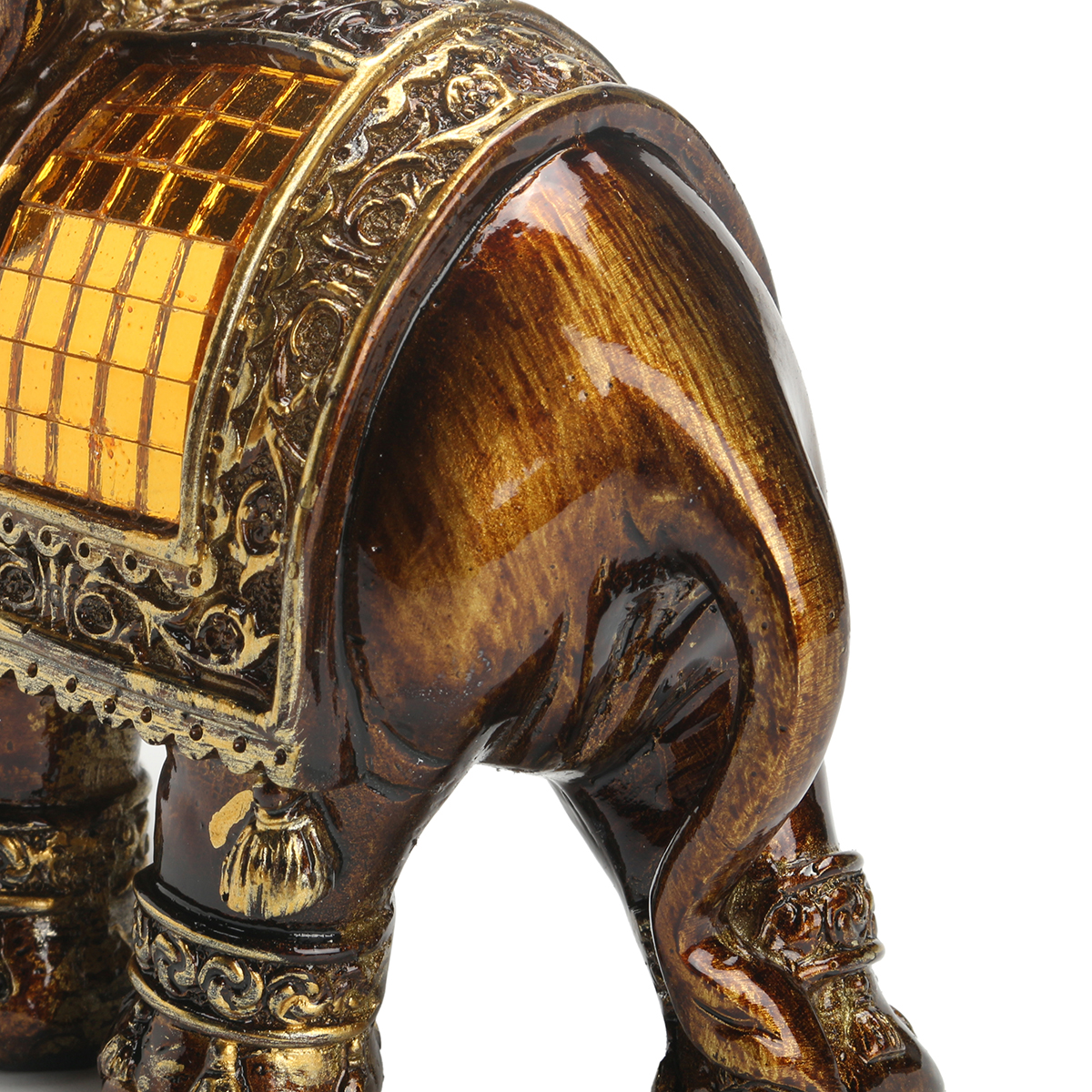 Resin Feng Shui Elegant Elephant Statue Lucky Wealth Figurine Home Decoration Decor