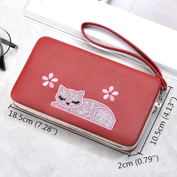 Women Cute Cat Leather Long Clasp Wallet Coin Purse
