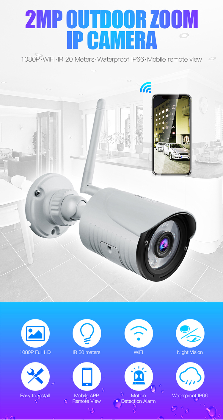 Wanscam HW0022 1080P WiFi IP Camera Wireless CCTV 2MP Outdoor Waterproof Onvif Security Camera Support 64G TF Card