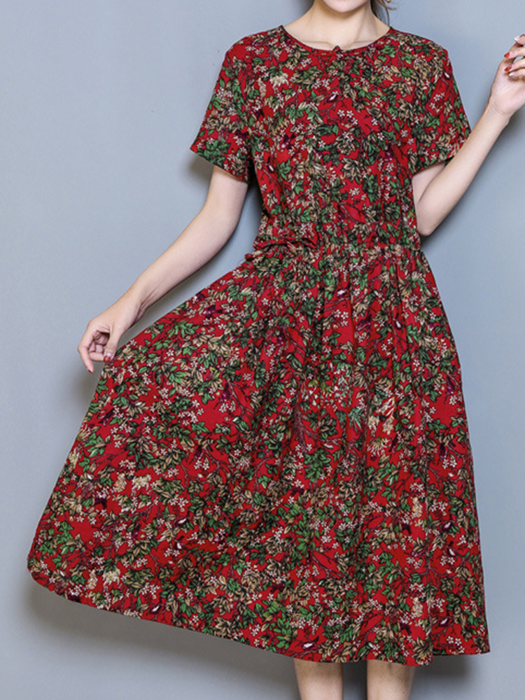 Vintage Short Sleeve Printed Elastic Waist Women Dresses