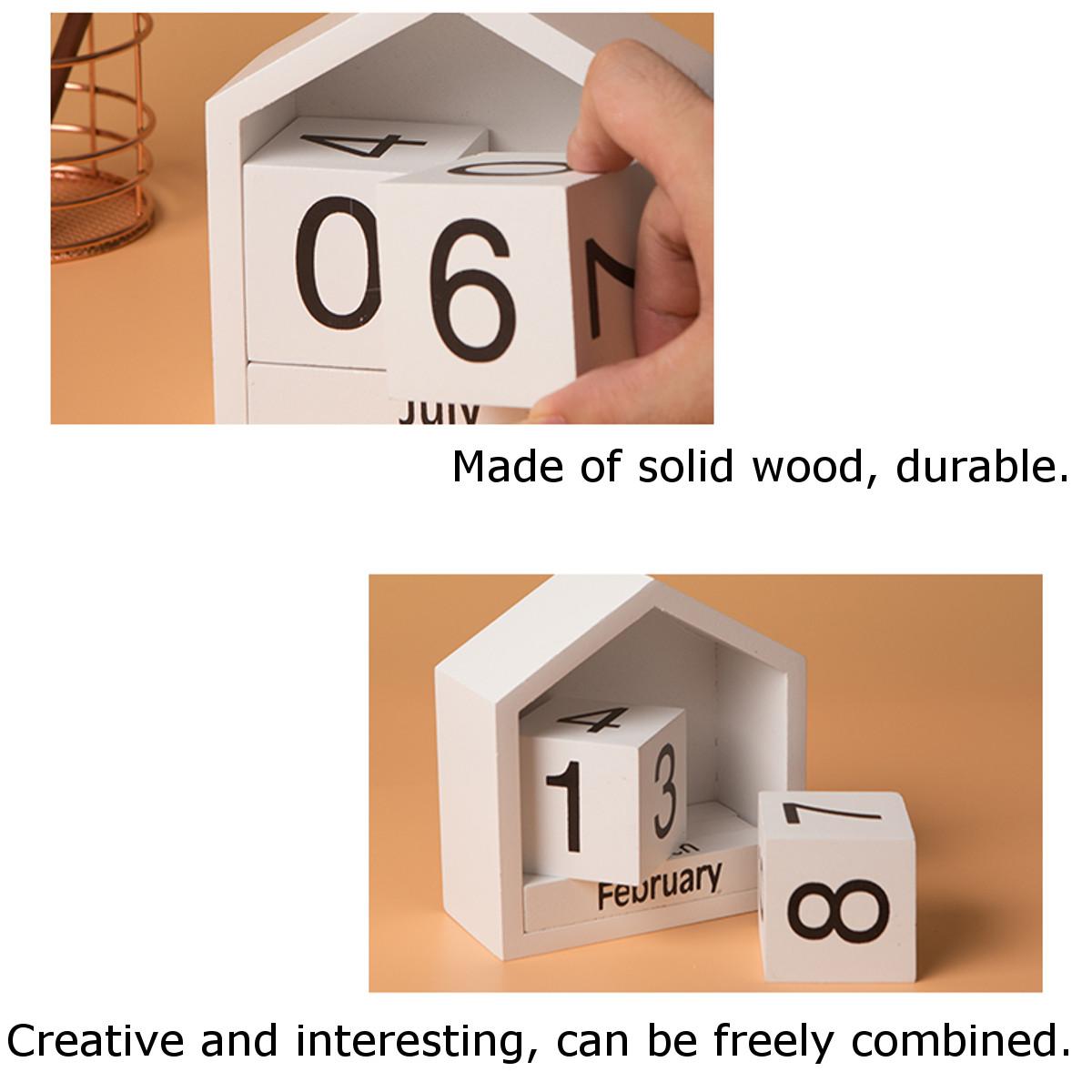 Wooden Block Calendar House Decoration Creative Desktop Ornaments
