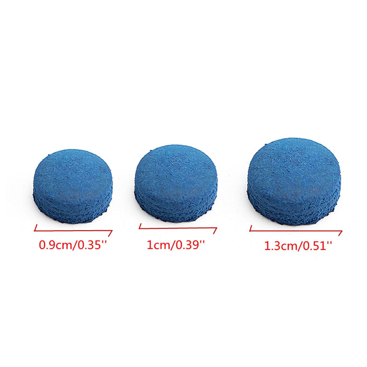 50 Pcs Glue-on Piscina Bilhar De Couro Cue Azul Dicas Caixa Esporte Jogo 9mm 10mm 13mm
