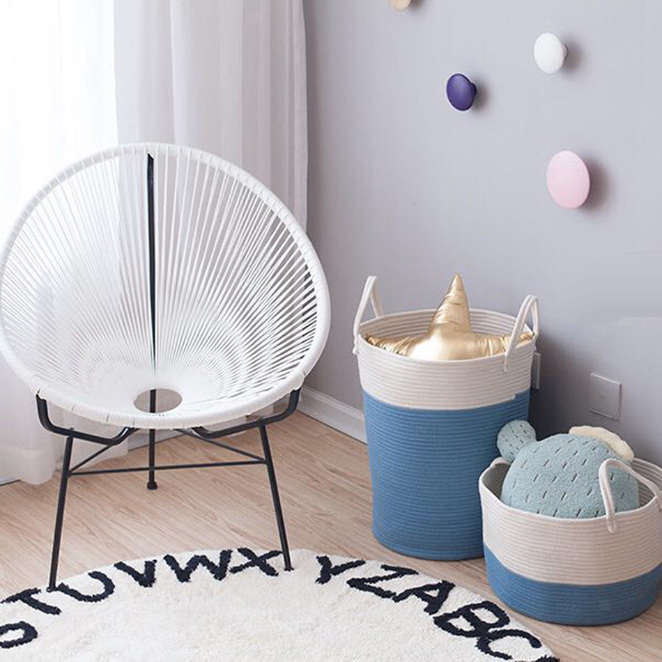 Cotton Rope Storage Basket Baby Laundry Basket Woven Baskets with Handle