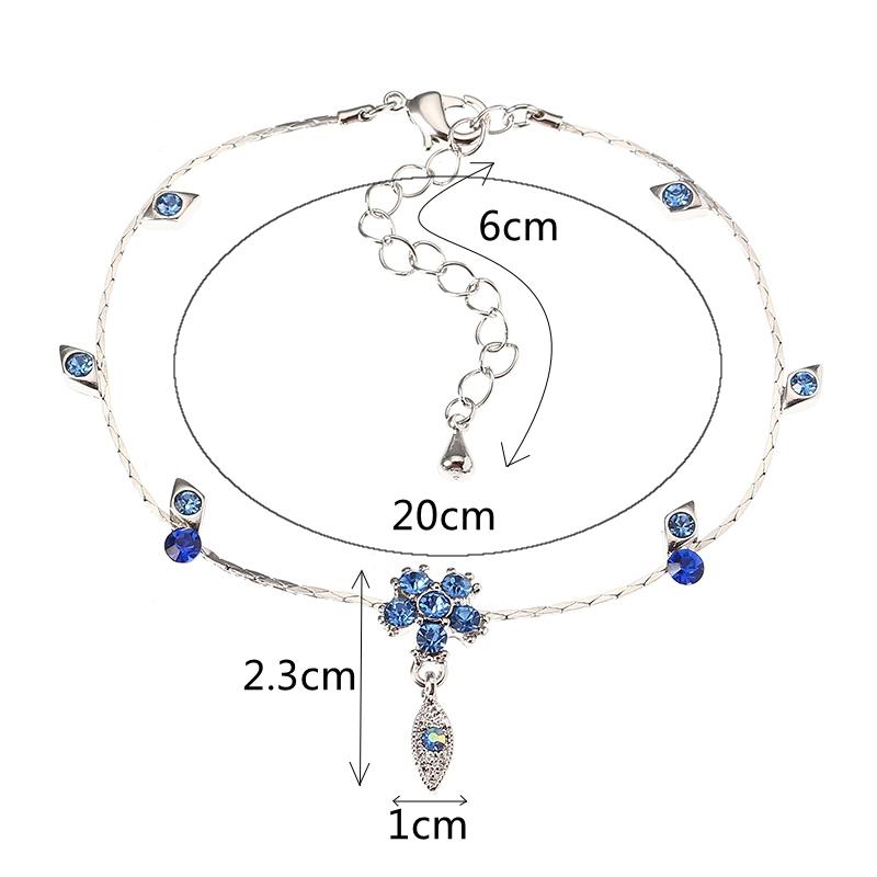 JASSY® Fine Anklet Platinum Plated Capri Blue Rhinestone Flower Leaf Pendant Jewelry for Women