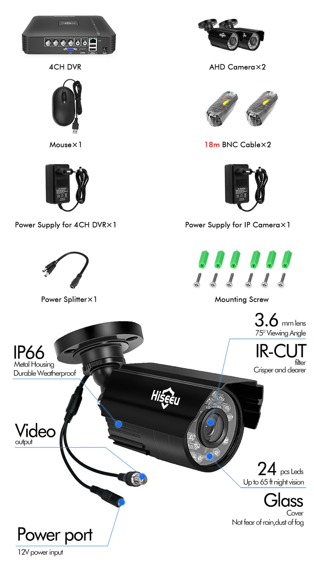 Hiseeu HD 4CH 1080N 5 in 1 AHD DVR Kit CCTV System 2pcs 720P AHD Waterproof IR Camera P2P Security Surveillance Set