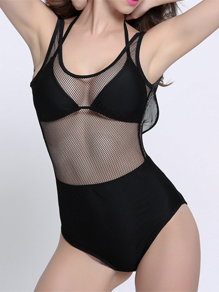 Women Sexy Fish Net Cover Backless One Piece Wireless Bikini Bra Lace-Up Swimwear