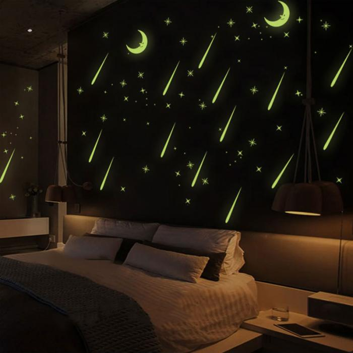 Luminous Moon Star Stickers Kids Child Light In The Dark Free Shipping PVC Stickers Decorative Best For Baby Gift Moon Stars Glow In Dark Luminous Fluorescent Plastic Wall Sticker