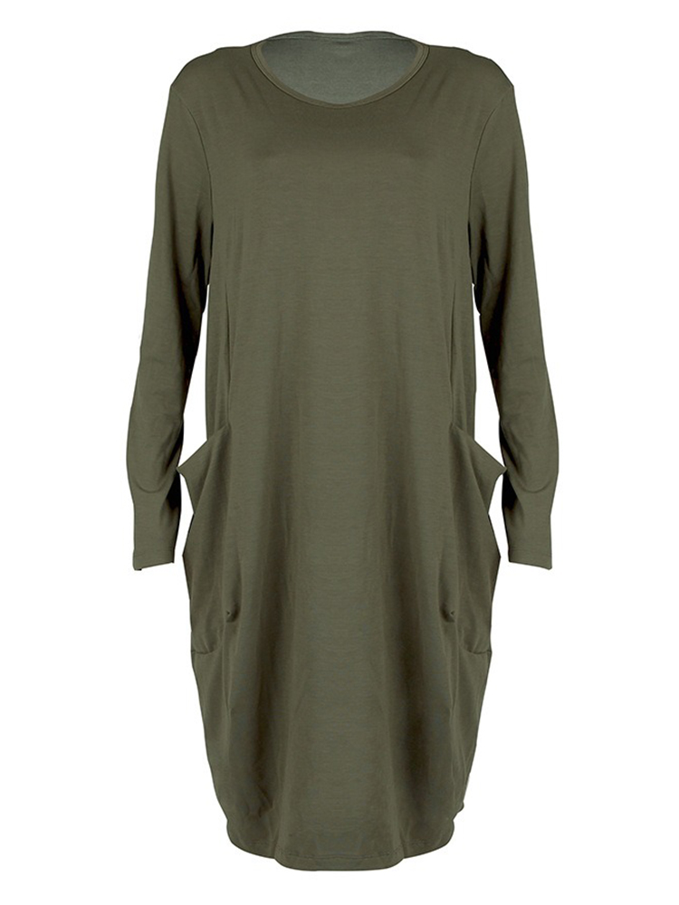 Women Casual Solid Color Round Neck Baggy Loose Dress