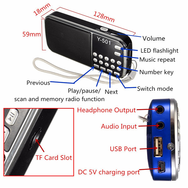Y-501 Mini Portable LCD Digital FM Radio Speaker USB Disk TF AUX Mp3 Music Player Gift