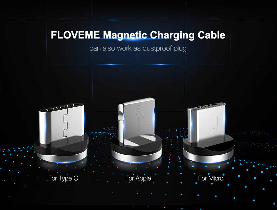 FLOVEME Micro USB LED Magnetic Braided Fast Charging Data Cable 2m For Redmi Note 5 Note 6 Pro S7