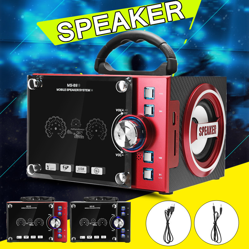 Portable bluetooth Dynamic LED Wooden Speaker Wireless HIFI Stereo Digital Display FM Radio With Mic