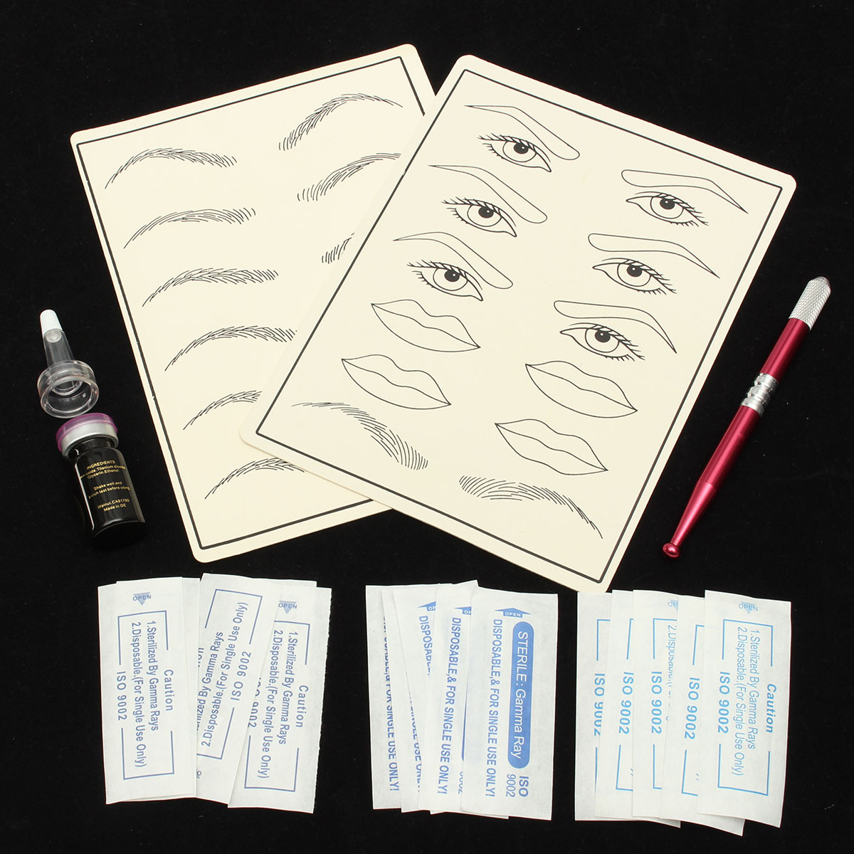 Permanent Eyebrow Pen Practice Set Tattoo Machine Microblading Needle Eye Makeup for Learner