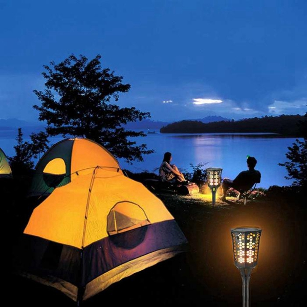 Solar Powered 96 LED Flame Lawn Light Outdoor Waterproof IP65 Garden Path Wall Torch Lamp