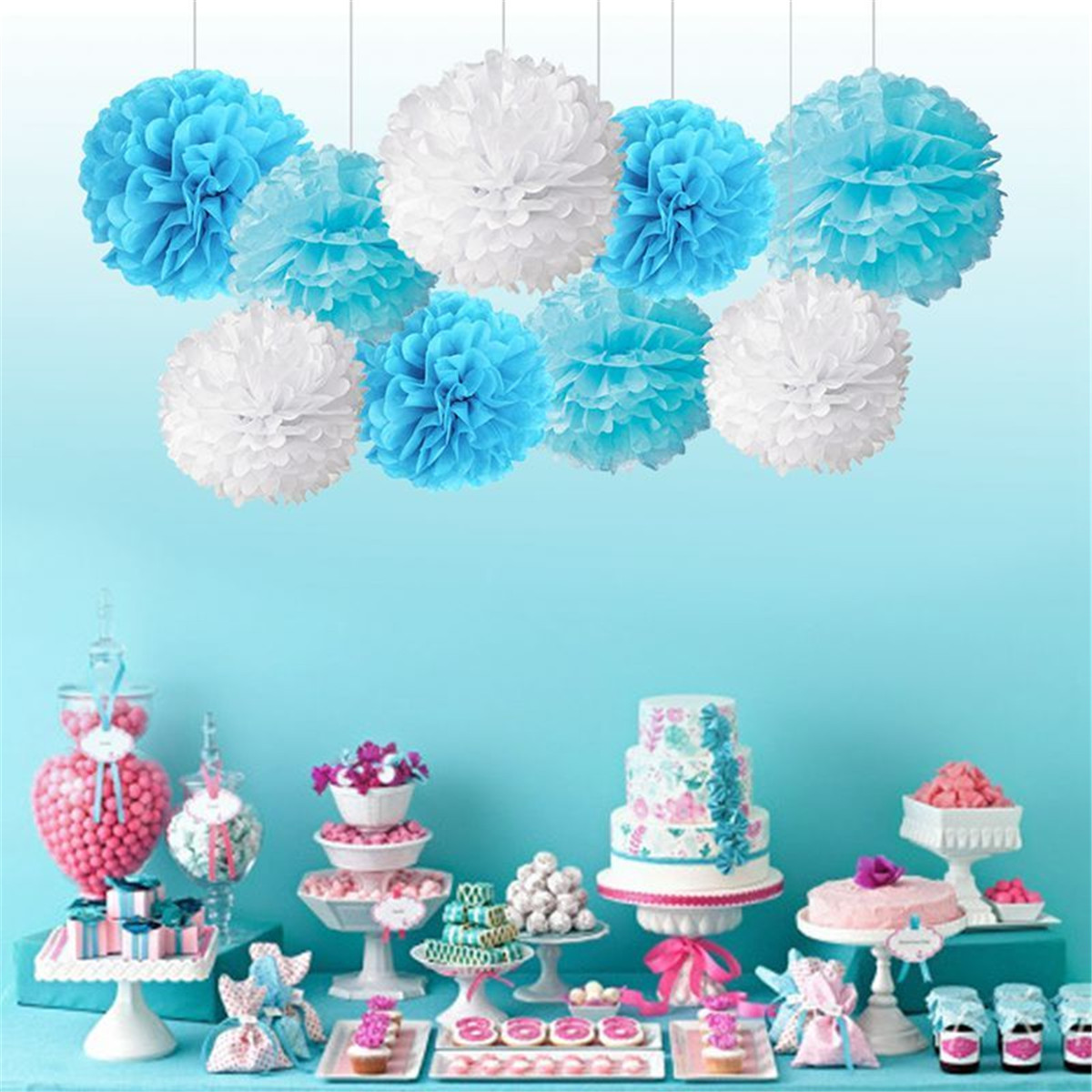 Boy Girl Baby Shower Set Banner Paper Pompom Tassel Garland Birthday Party Decorations