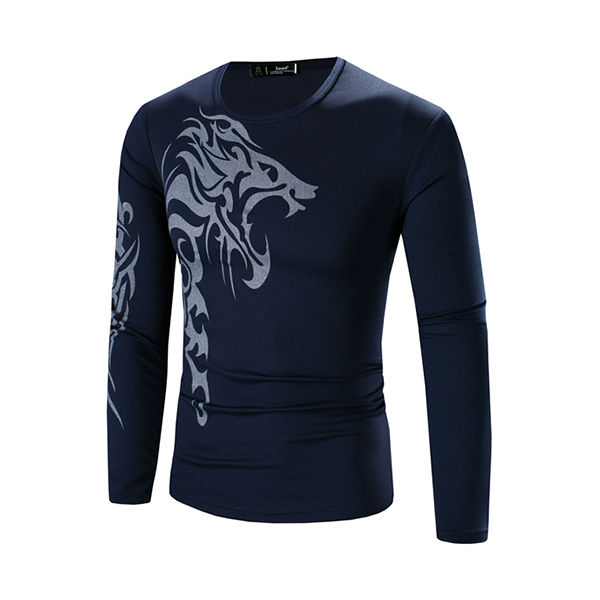 Mens Fashion Wolf Tattoo Printing Bottoming T-shirts Casual Slim Long Sleeve T-shirt