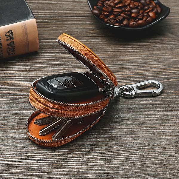 Men Genuine Leather Double Zipper Car Key Case