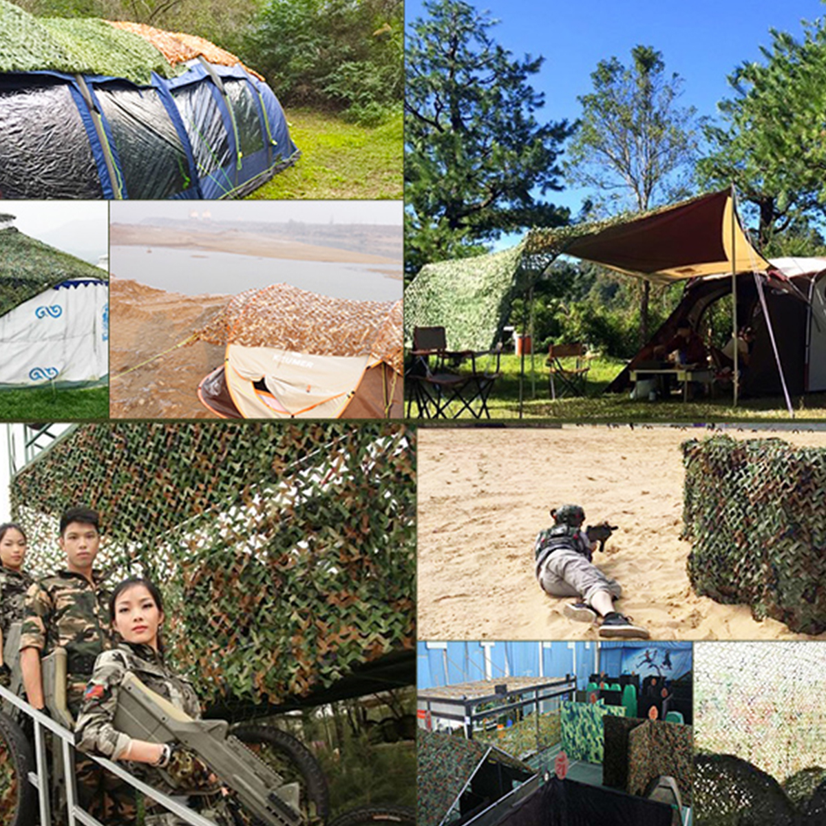 Multi-size Desert Camo Netting Camouflage Net for Car Cover Camping Woodland Military Hunting