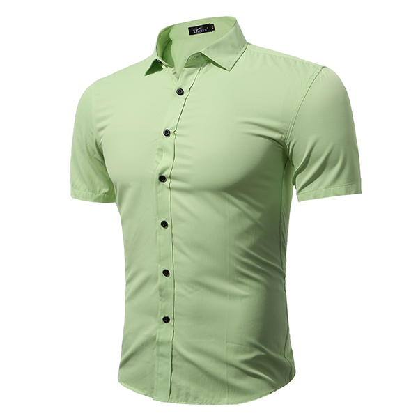 Plus Size Fashion Casual Solid Color Simple Style Short Sleeve Dress Shirts for Men
