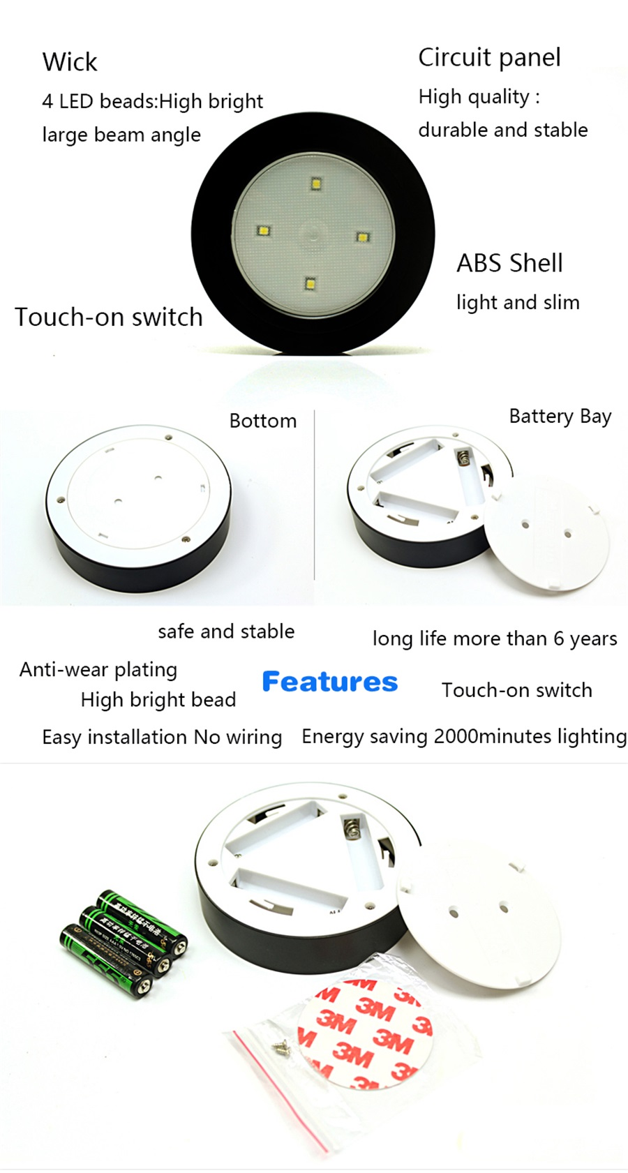 4 LED Touch Night Lights Cordless Stick Tap LED Wall Light Lamp for Indoor Car Battery Powered
