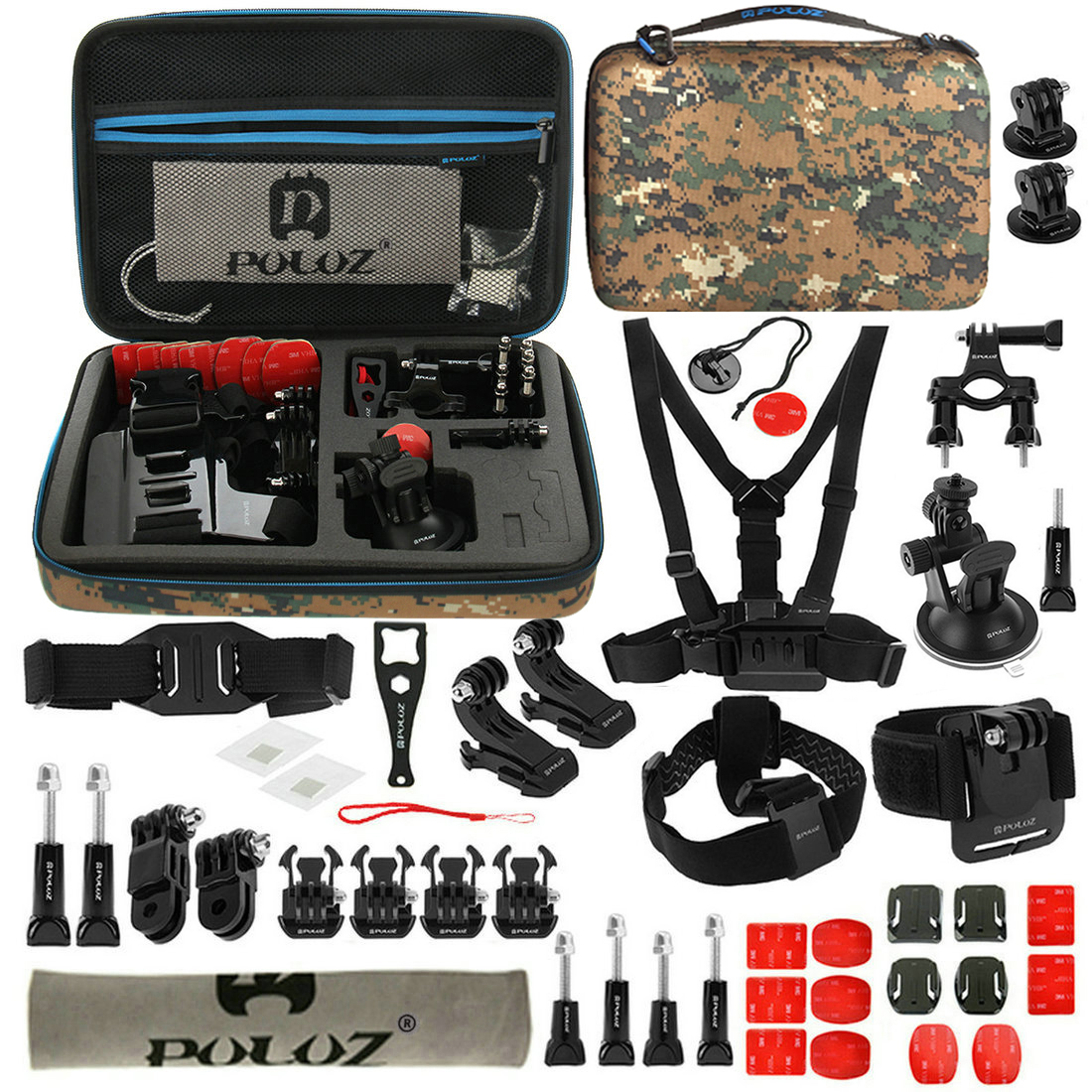 PULUZ PKT29 45 in 1 Accessories Combo Kit Mount Screw with Storage Case for Action Sportscamera
