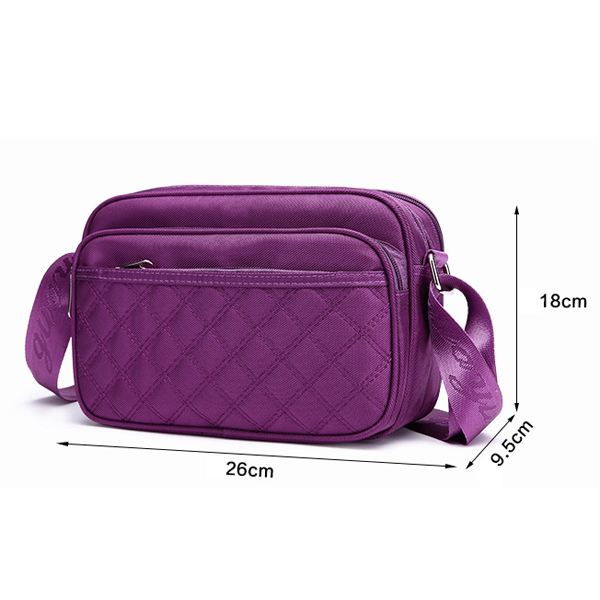 Women Oxford Cloth Waterproof Plaid Pattern Crossbody Bag