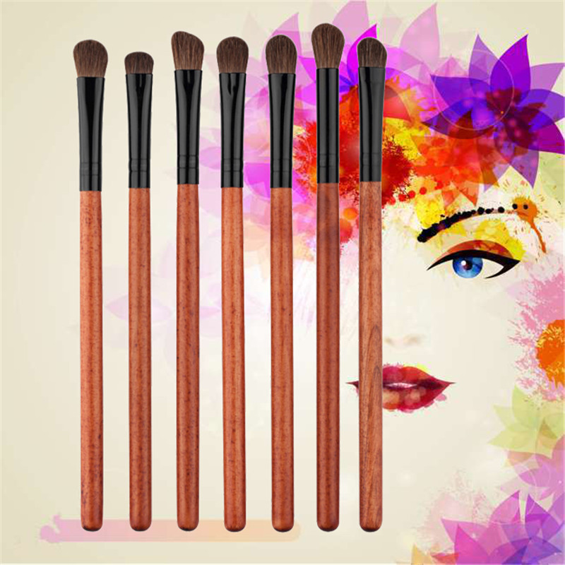 7Pcs Eye Shadow Eye Liner Brush Mahogany Makeup Tools