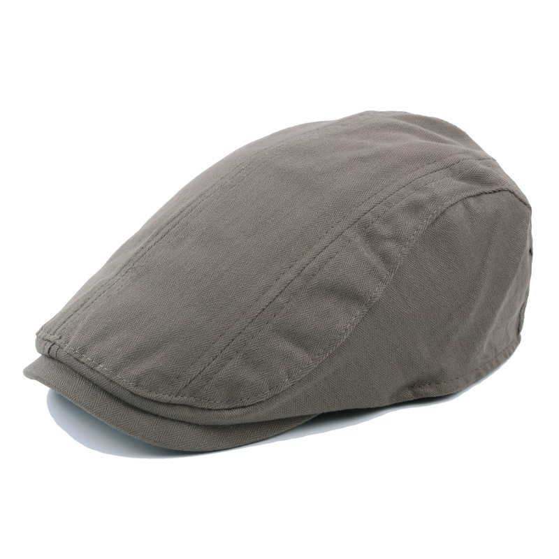 Men Women Solid Color Cotton Beret Cap Casual Forward Stitching Matching Peaked Hat