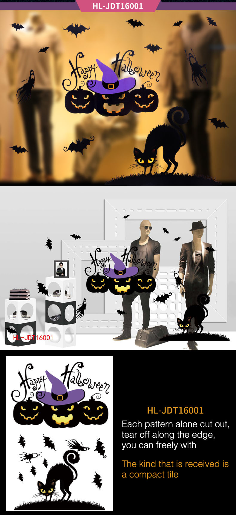 Halloween Electrostatic Stickers Holiday Party Window Stickers Glass Stickers