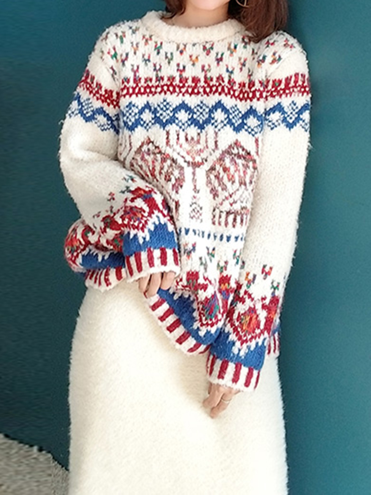 Vintage Women Jacquard Christmas Sweater