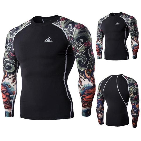 Kito Tattoo Quick Drying Cycling Gym Boxer Training Tights Long-sleeved Sport T-shirt