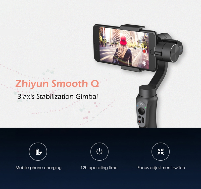 Zhiyun Smooth Q 3 Axis Brushless Handheld Gimbal For 6 Inch iPhone Smartphone GoPro 3/4/5/6 Smartphone Mobile