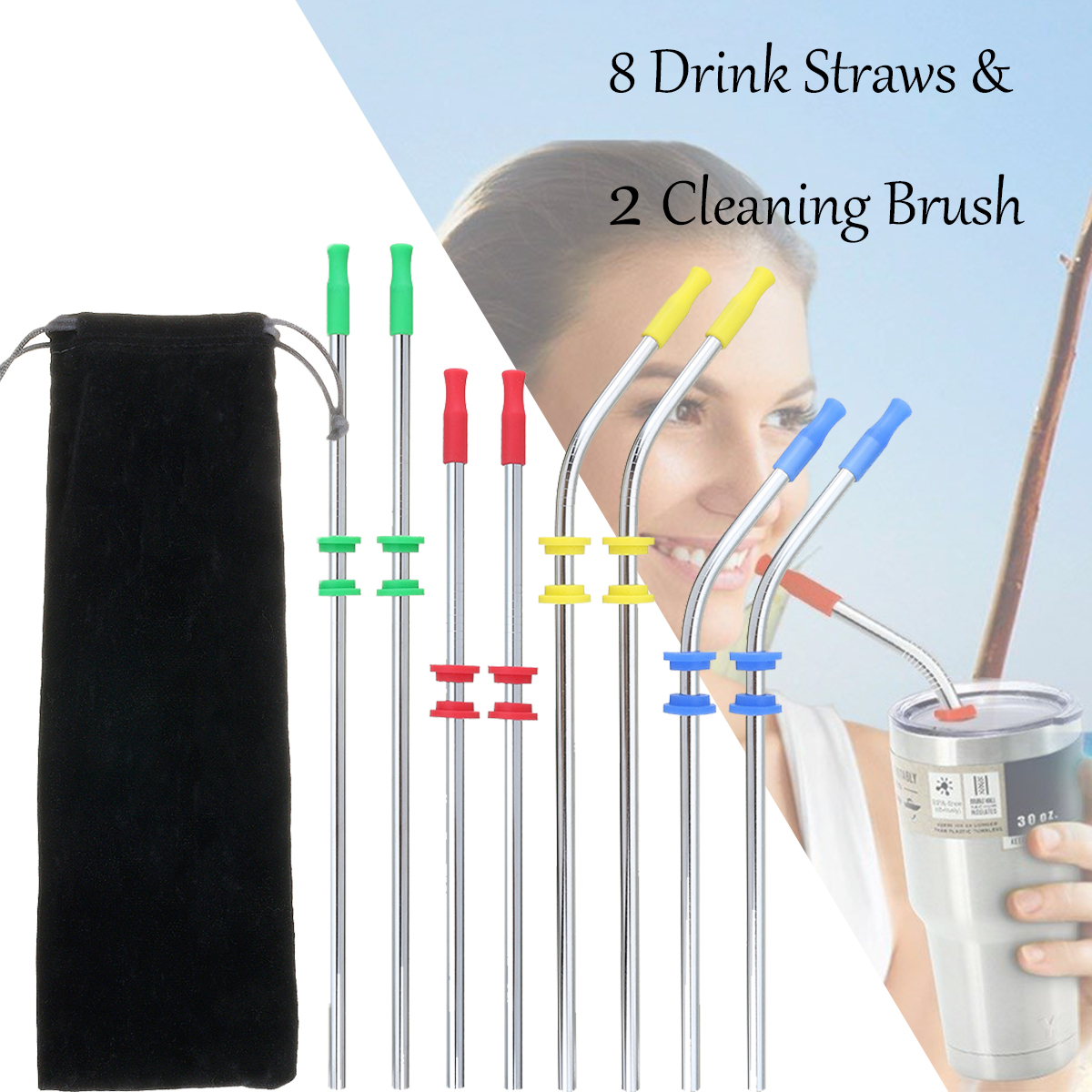 Reusable Drinking Straw Stainless Steel Drink Straws Cleaning Brushes Set with Silicone head