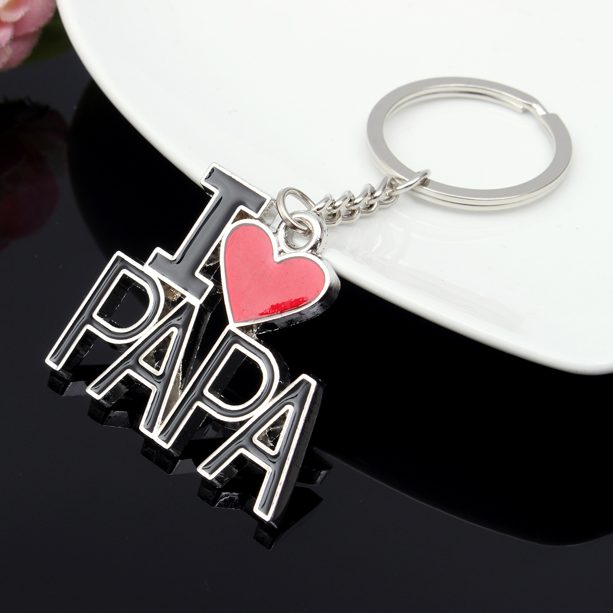 I Love Papa Letters Words Heart Father's Gift Key Chain Present