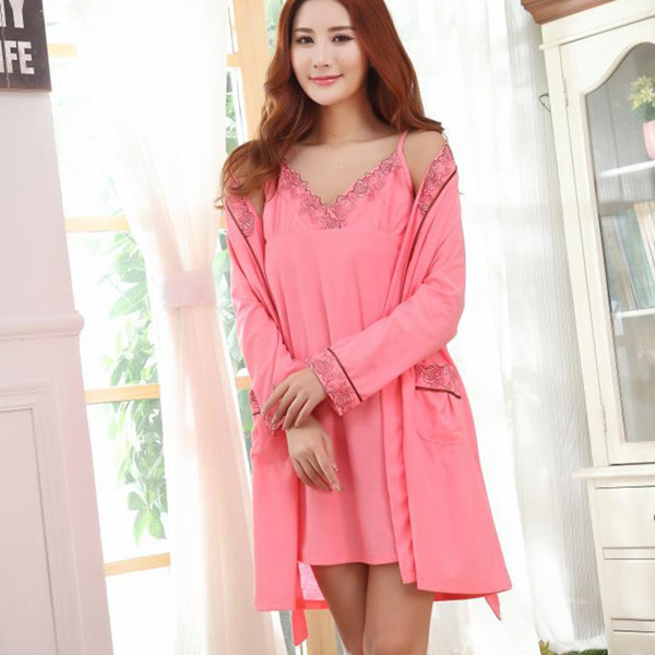 Sexy Fall Winter Homewear Women Comfy Jacquard V Neck Spaghetti Straps Nightwear Robe Two Pieces