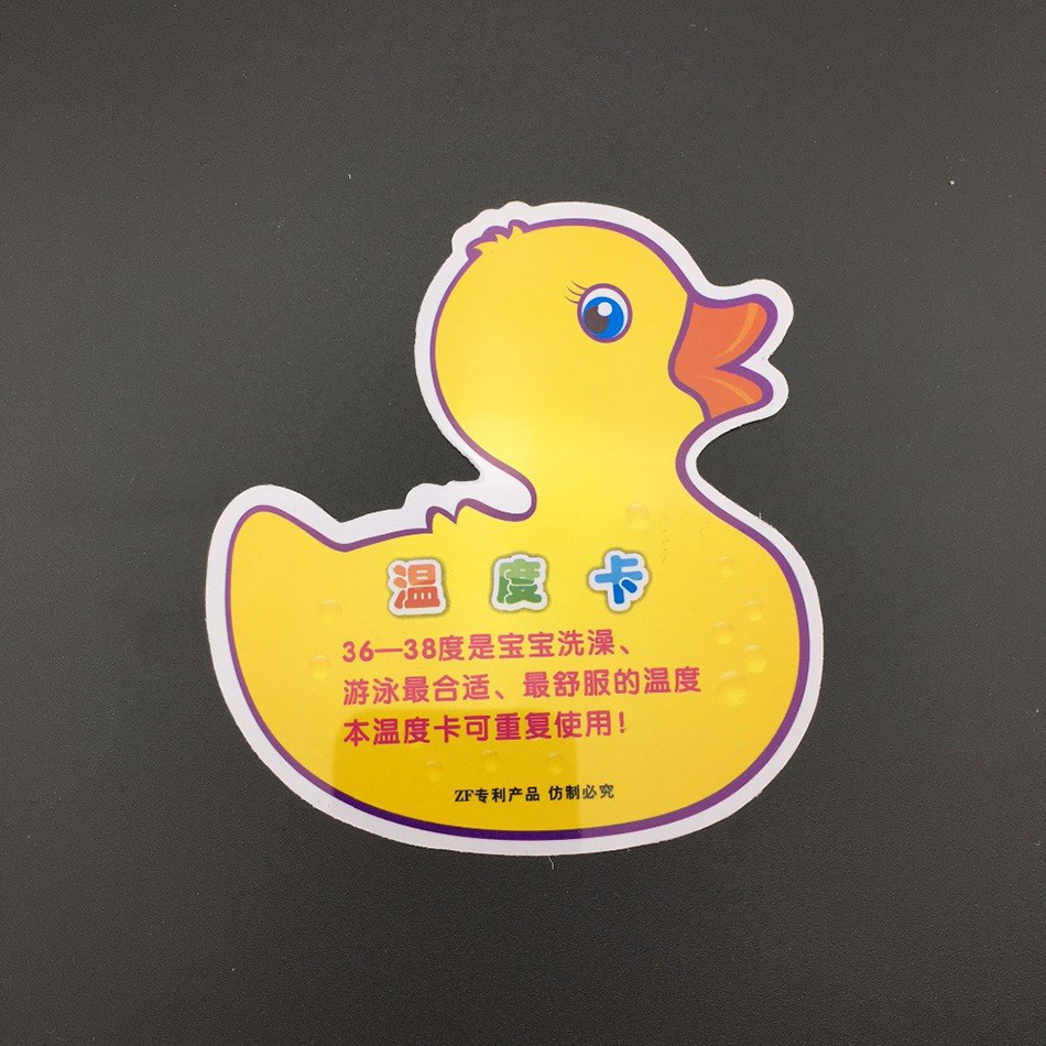 Portable Duck Shaped Thermometer Pad Card Infant Bathing Water Temperature Gauge