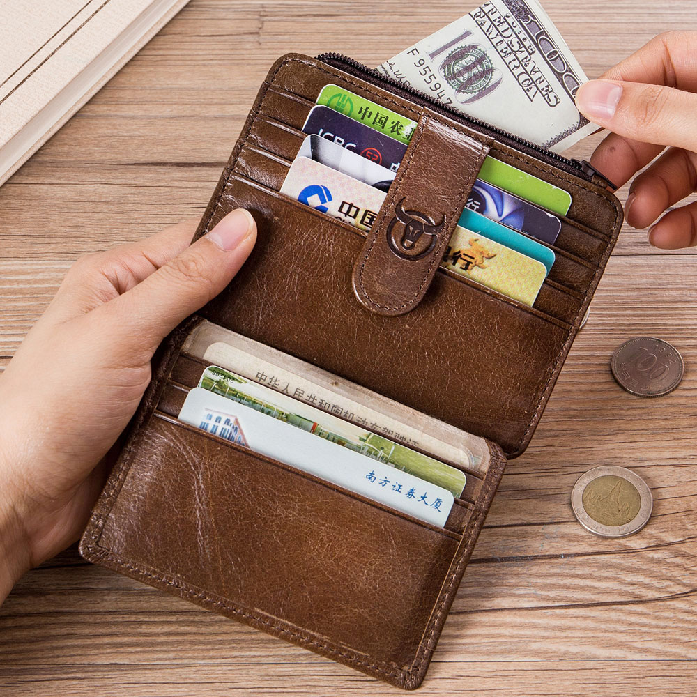 RFID Antimagnetic Men Wallet Genuine Leather Card Holder