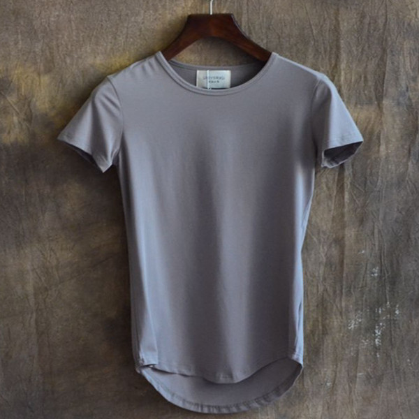 Long Mens Spring Summer Cotton Essential Basic Tshirts Short Sleeved T-shirts