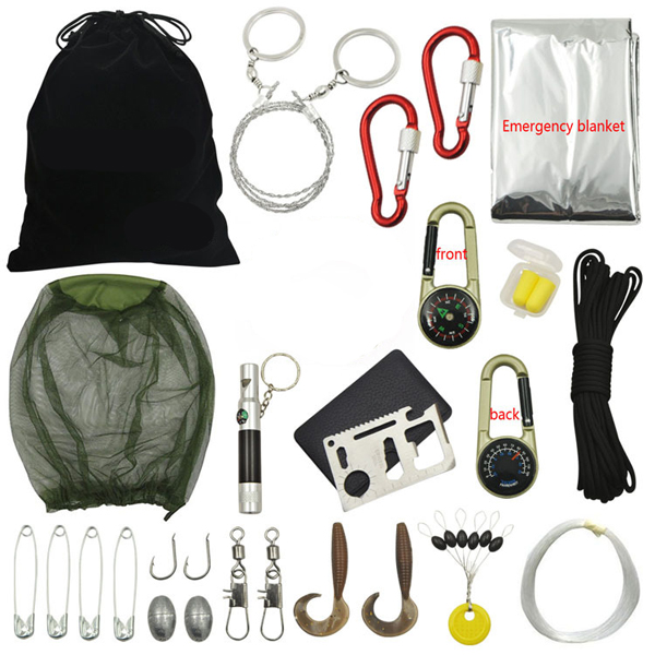 18 In 1 Multifunction Outdoor Fishing Gear Survival Kit