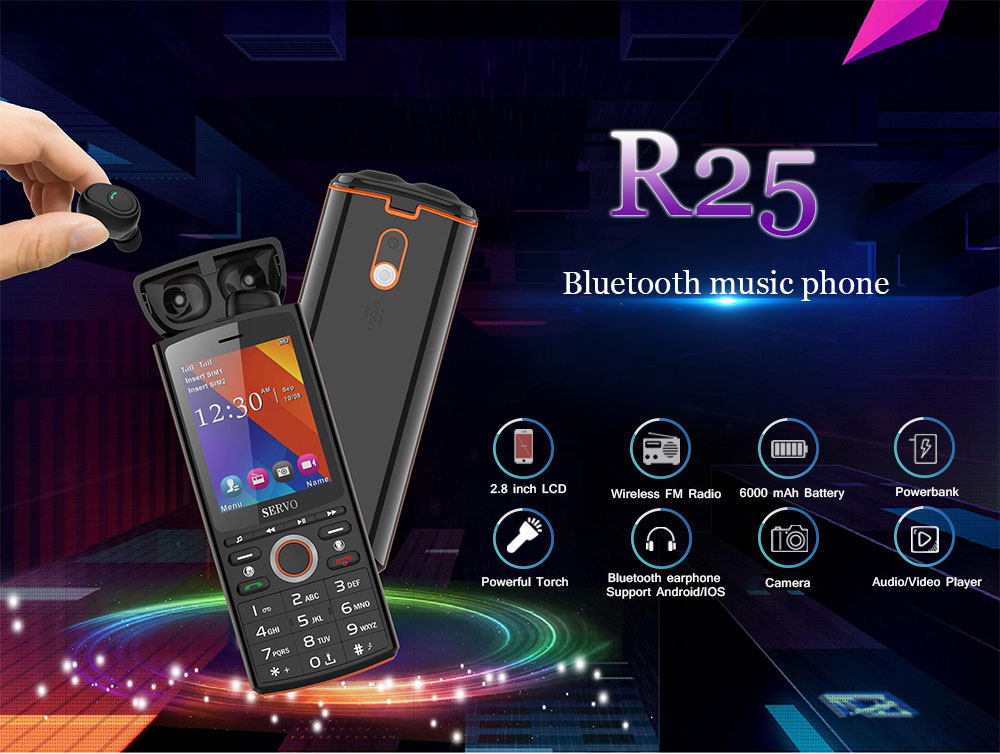 SERVO R25 2.8 inch 6000mAh Power Bank TWS True Wireless bluetooth 5.0 Headphone GPRS Dual SIM Card Feature Phone